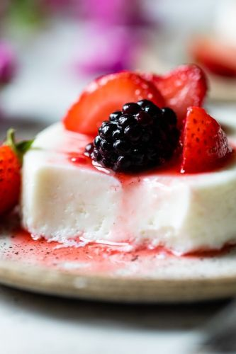Yogurt Panna Cotta with Mascerated Berries