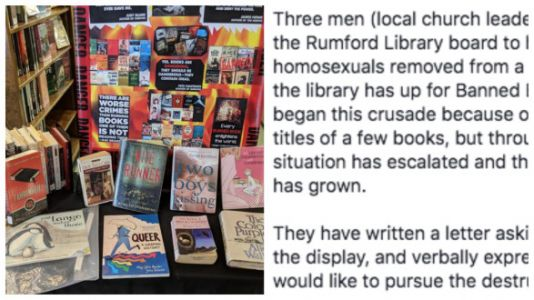 Church Members Try To Ban Books At The Local Library - From The 'Banned Books' Display