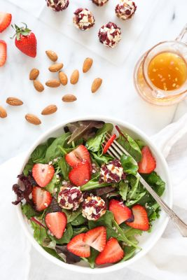 Berry Salad with Almond-Cranberry Crusted Goat Cheese