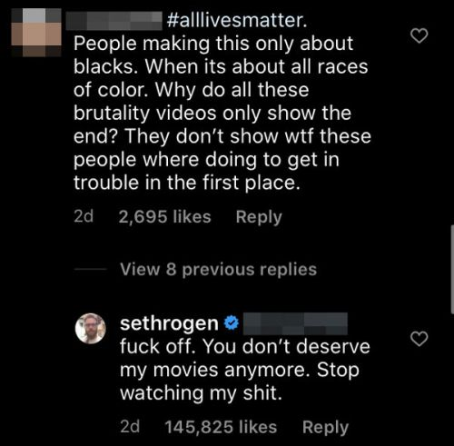 Seth Rogen Is Telling 'All Lives Matter' Commenters To F*ck Off, One By One