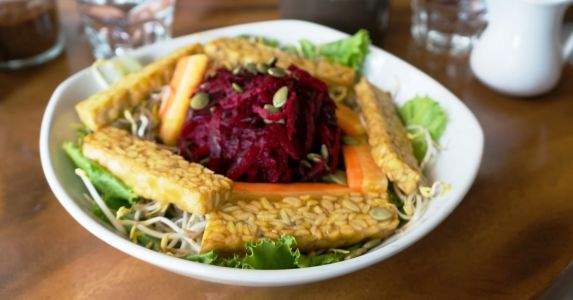 Tempeh Salad with Beets and Sprouts is Healthy and Delicious for Dinner
