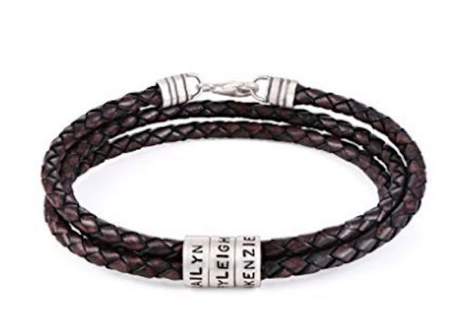 Your Kids' Names On A Leather Bracelet Is The Perfect Dad Gift