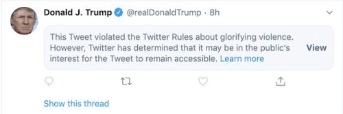 Twitter Places Warning On Trump Tweet For 'Glorifying Violence'
