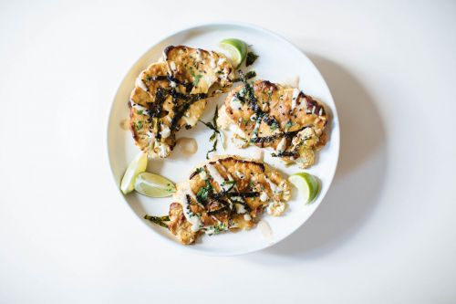 Tahini Miso Covered Cauliflower Steaks