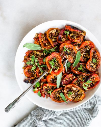 Roasted Plum Tomatoes with Garlicky Toasted Pecans