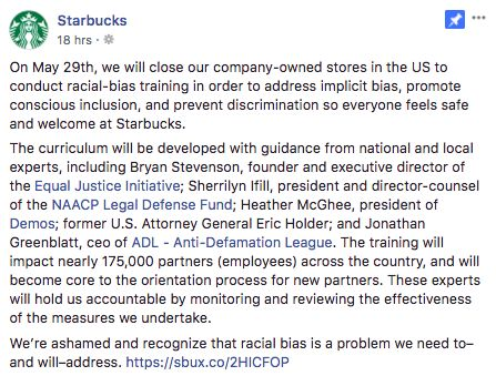 Starbucks To Close All Stores For One Day To Address Racial Bias