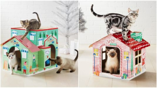 These Cat Scratchers Look Like A North Pole Village And Your Kitty Needs One