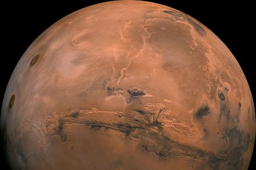 Satellite images of Mars show valleys and trenches where ancient rivers once flowed