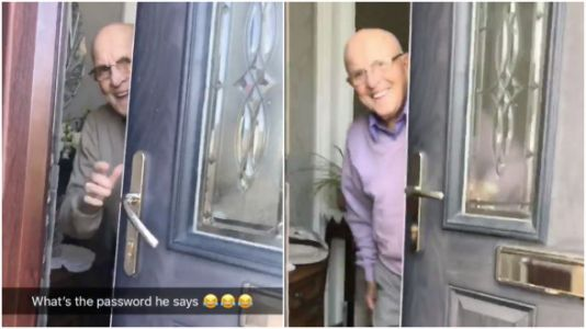 Woman Records All Her Grandpa's Sweet Reactions When She Comes To His Door