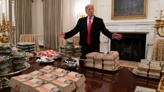 Behold The Dumpster Fire Photos Of Trump Presiding Over A Fast Food Feast