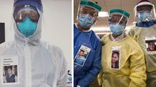 Medical Workers Wear Pics Of Themselves Smiling To Comfort COVID-19 Patients