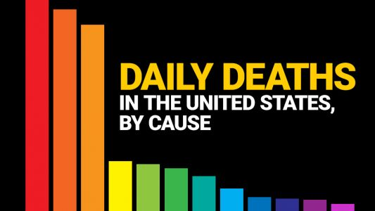 Infographic: Daily deaths in the United States, by cause - covid-19, seasonal flu, heart disease, cancer, accidents and more