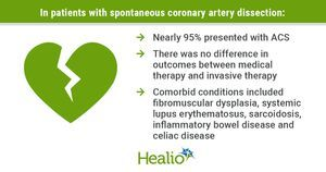 Medical treatment equal to invasive therapy for spontaneous coronary artery dissection