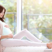 Pregnant Woman Sits On Windowsill Holding Belly