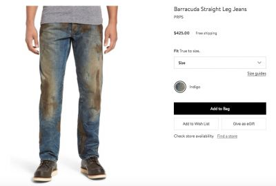 Nordstrom Is Trolling Us With These $425 'Muddy Jeans'