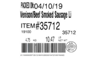 Venison sausage products recalled for misbranding