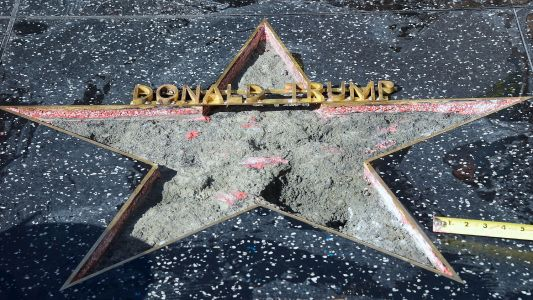 Someone Took A Pickaxe To Trump's Walk Of Fame Star