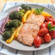 Sheet Pan Salmon with Rainbow Veggies