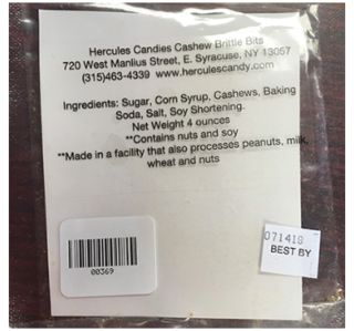 Undeclared peanuts prompts recall for Cashew Brittle Bits