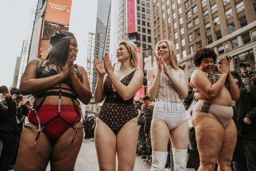 These Plus-Size Models Set Up a Body-Positive Runway in Times Square in Response to the Victoria's Secret Fashion Show