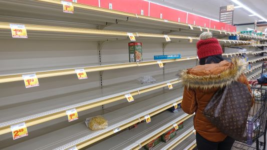 Grocery stores now using PHOTOS of food to fill empty shelves like something ripped straight out of North Korea