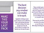 Messages advising smokers to 'make this your last pack' could be printed on inserts