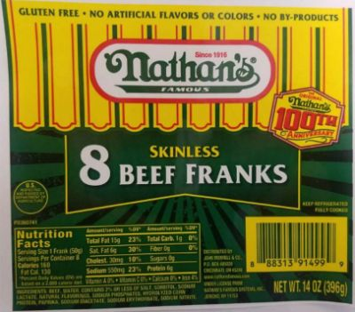 100 tons of Nathan's and Curtis franks recalled nationwide