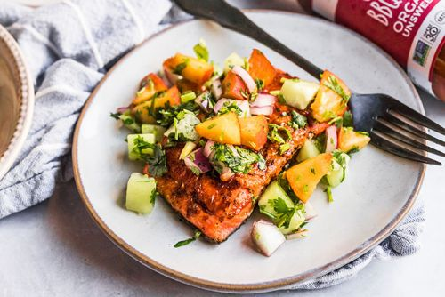 BBQ Grilled Salmon Recipe with Peach and Cucumber Salsa