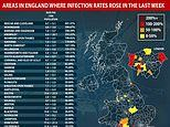 Coronavirus England: 34 areas where cases have RISEN recently