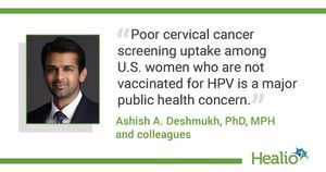 Many women who never received HPV vaccine also not up to date on cervical cancer screening