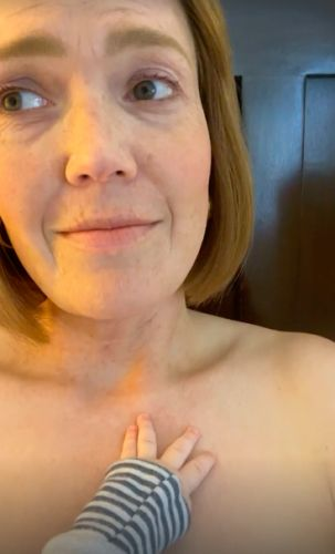 Many Moore Shares Hilarious Breastfeeding Selfie As 'Older' Rebecca Pearson