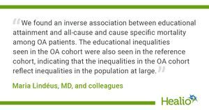 Lower education linked to higher mortality in patients with osteoarthritis